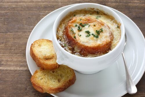 Onion and garlic soup with croutons which is a great way to boost your defences