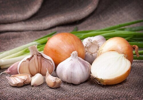 White onion and garlic