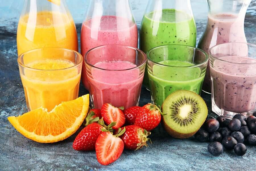 Brightly colored fruit smoothies.