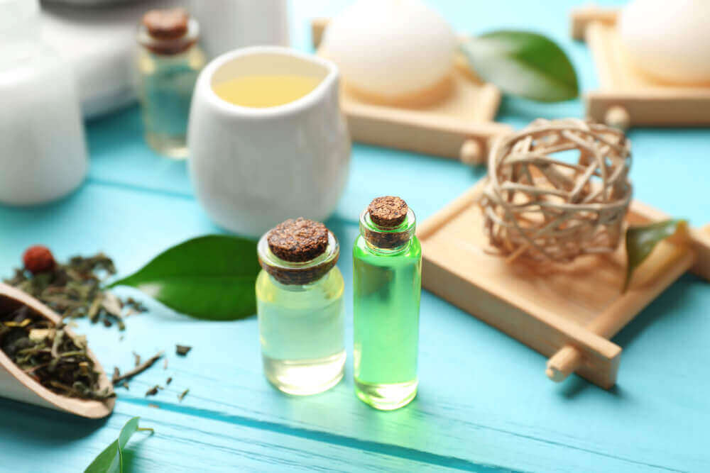 Small bottles of tea tree oil.