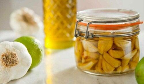 A jar of garlic oil.