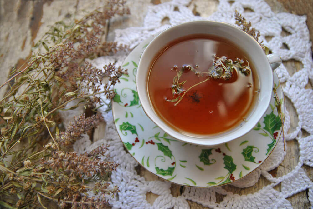 A cup of thyme tea.
