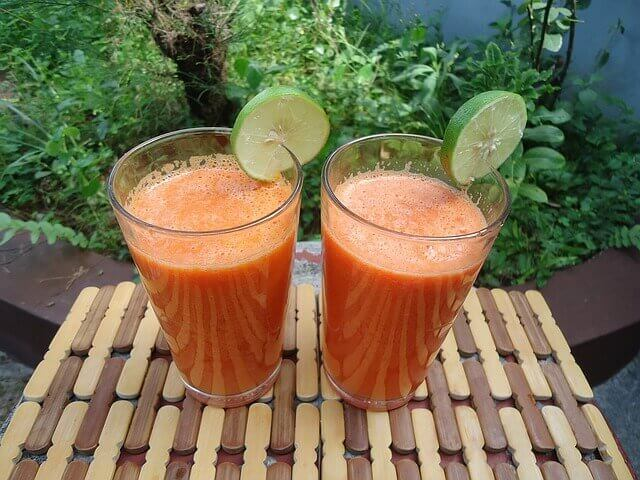 Ginger, orange and carrot juice boost your skin health.