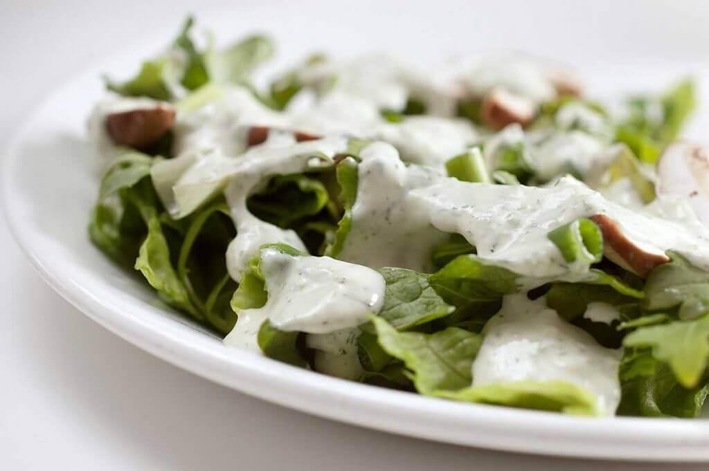 Salad with yogurt dressing.