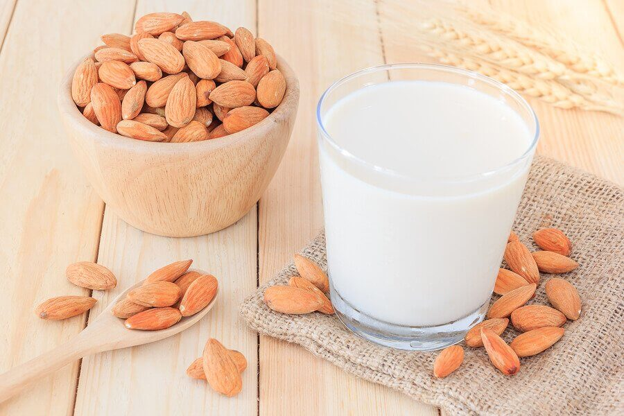 Almond milk in a glass