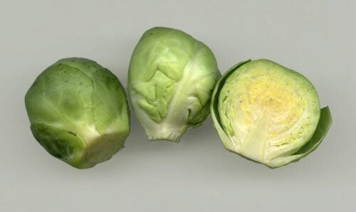 Brussels sprouts, whole and halved.