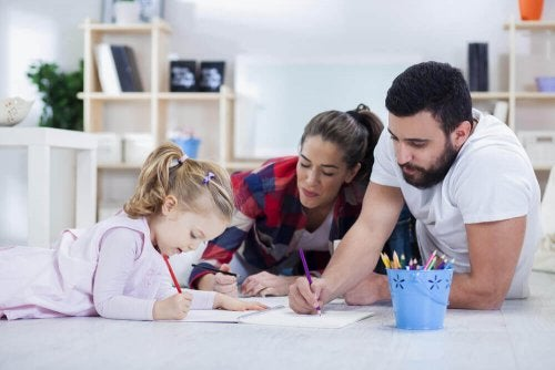 Parents help their daughter study