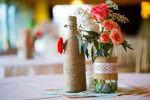 Use wine bottles to make pots.