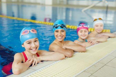 Children in swimming class.