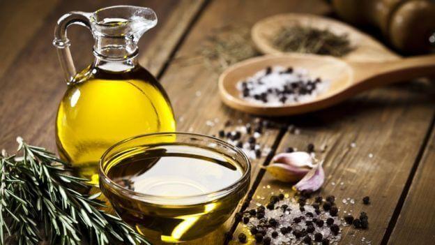 Olive oil, salt, pepper and rosemary.