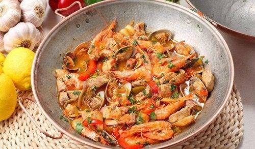 Sautéed seafood.