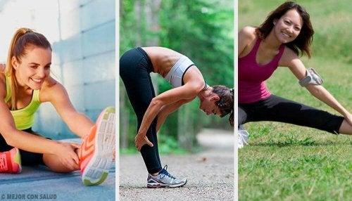 Women stretching before exercising.
