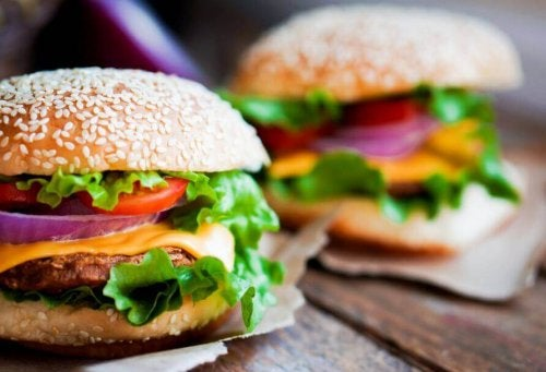 Chicken burgers with cheese.