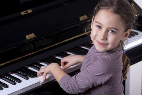 Gifted child playing piano
