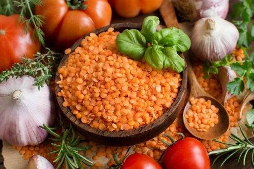 Red lentils.