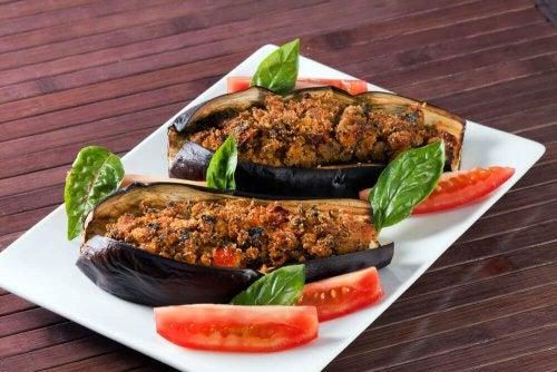 Vegetable Stuffed Eggplant with Vinaigrette