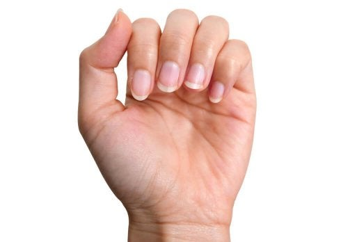 A woman with healthy nails.