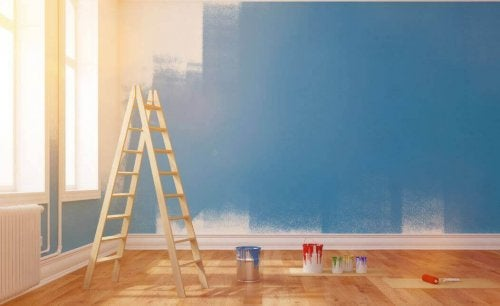 A room getting painted blue.