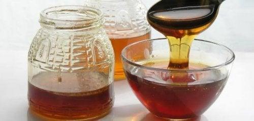Royal jelly in jars.
