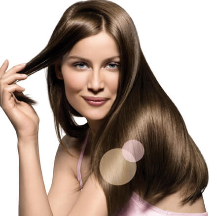 Woman with smooth and shiny hair.