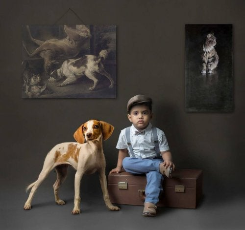 Colors for a child's bedroom: A child sitting in a suitcase accompanied by a dog with a dark background and pictures of animals.
