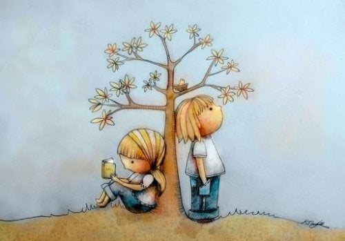 The Doman Method: A drawing of two kids leaning on a tree.