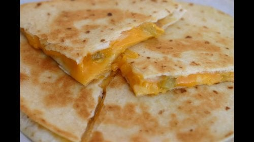 Snack ideas: A quesadilla with onion.