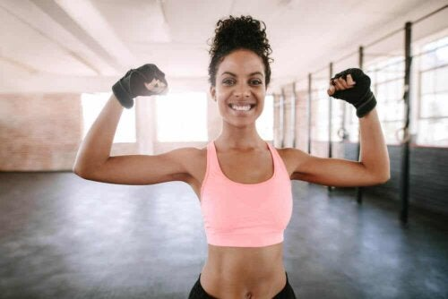 A woman happy after doing some exercise.
