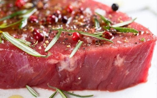 Marinated beef steak with herbs.