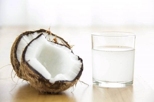 A glass of coconut water.