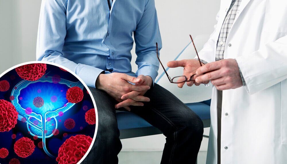 Man take with doctor about benign prostatic hyperplasia
