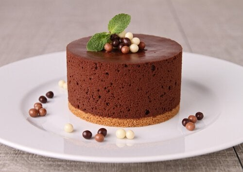 Chocolate mousse cake served on a plate