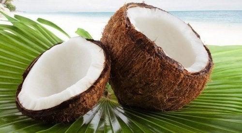 Fresh coconut on a beach