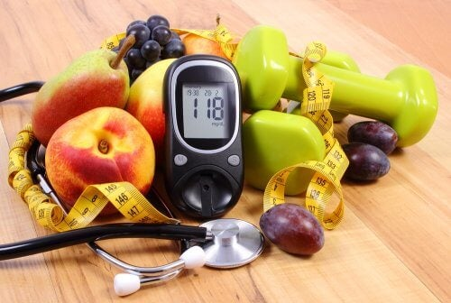 A display of those things needed to keep diabetes in check (exercise, medical supervision, nutricion, measuring devices).