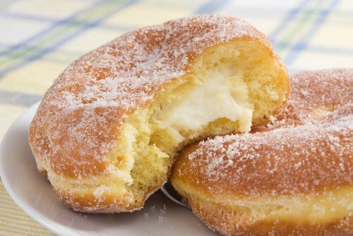 Homemade donuts are delicious, but you should only eat them every once in a while because they have lots of sugar.
