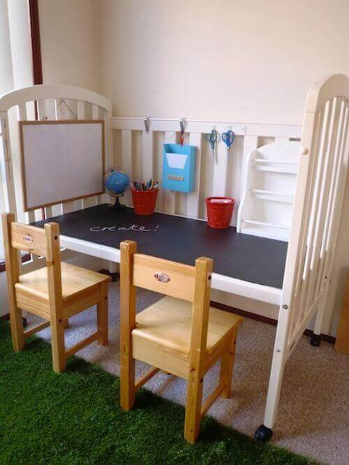 Once your children no longer need their cribs, you can use them as a great way to recycle wood furniture.