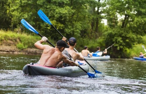 These men are rowing, an activity that won't affect your joints