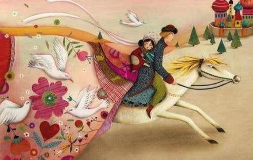 Illustration of couple fairytale riding away together on a horse good luck charms