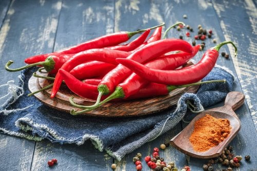 Red hot chili peppers ready to make a spicy tomato sauce
