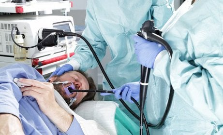 A man getting an endoscopy.