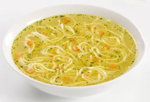 Pork and vegetable noodle soup
