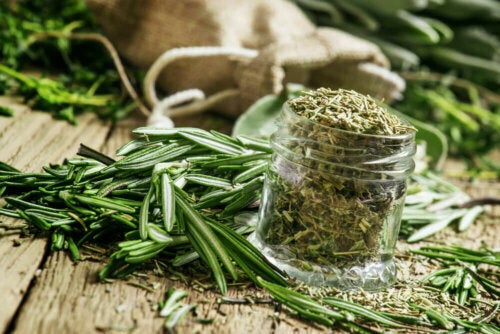 rosemary ground in a glass jar with other whole rosemary around it