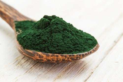 spoon with spirulina
