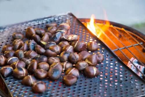 50 chestnuts on the grill.