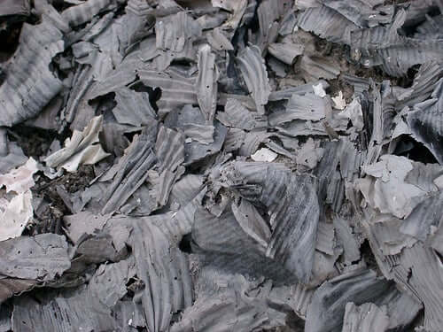 A bunch of charred paper.