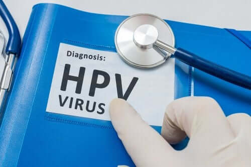 A folder with a diagnosis of Human Papillomavirus or HPV.
