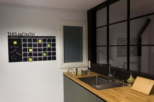 A kitchen with an organizing board.