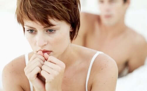 A seemingly frustrated woman due to sexual dysfunction.