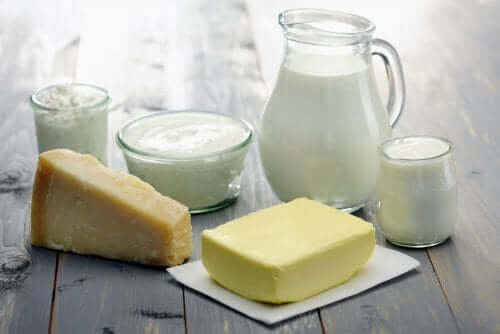 Various samples of dairy products.