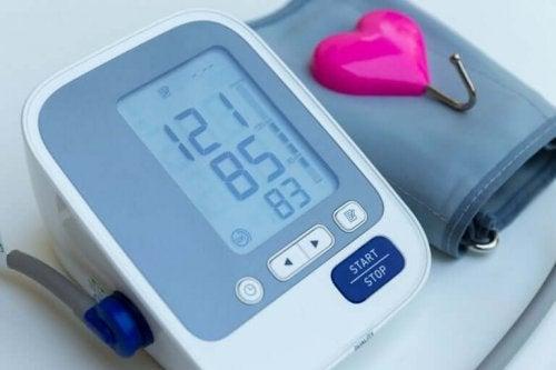 A blood pressure monitor.